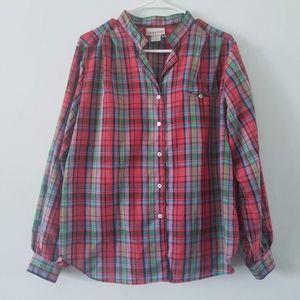 Vtg tartan plaid balloon sleeve button down blouse
